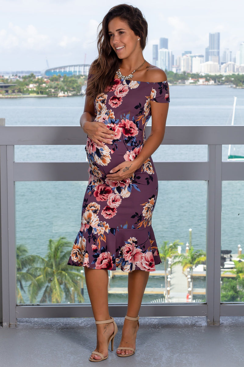 Mauve Floral Midi Dress New Arrivals, Dresses, Short Dresses Hello Miz/ CMD1905C - Mauve $10.75