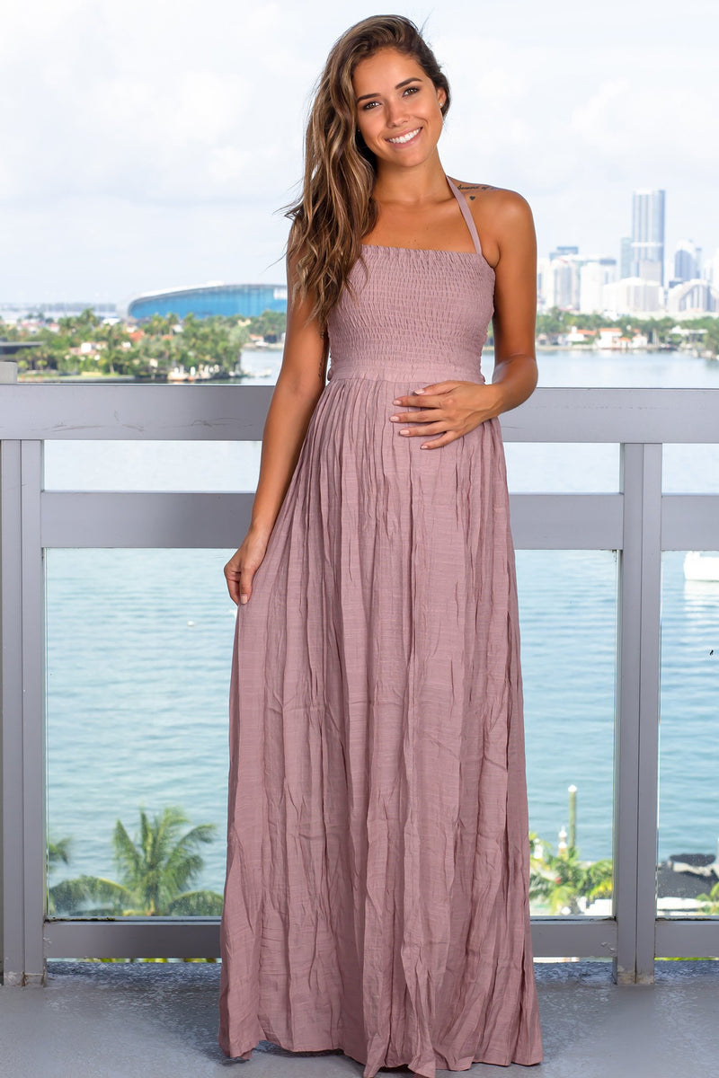 Mauve Halter Neck Maxi Dress