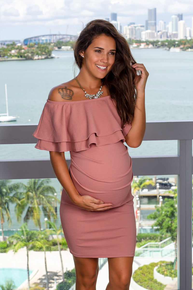 Mauve Off Shoulder Short Dress New Arrivals, Dresses, Short Dresses Hello Miz/ CMD1728S - Dusty Mauve $12.75