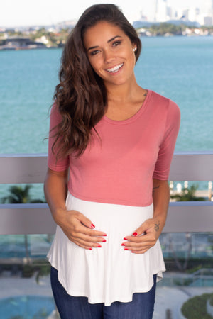 Mauve and Ivory Top New Arrivals, Tops, On Sale Hello Miz/ CMT1716 - Mauve/Ivory $9.75