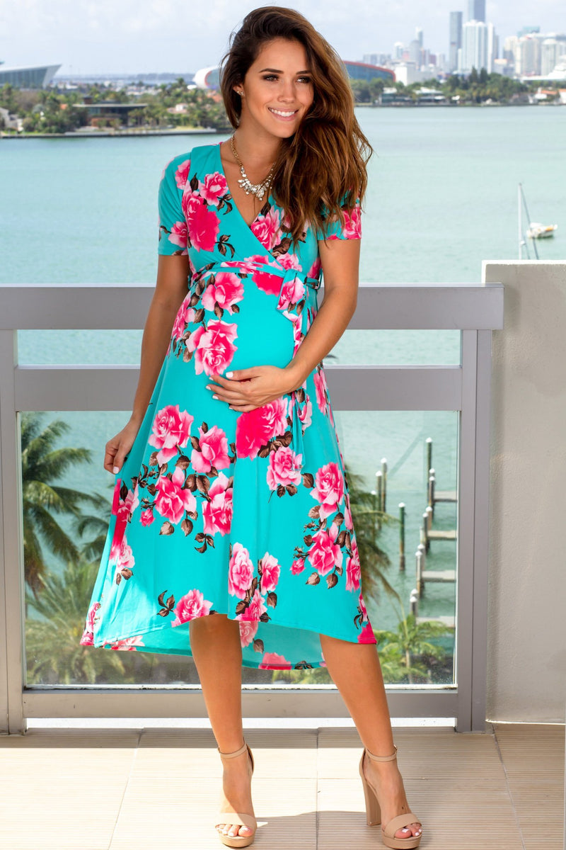 Mint V-Neck Floral Midi Dress New Arrivals, Dresses, Short Dresses Hello Miz/ CMD1623AK - Mint $18.25