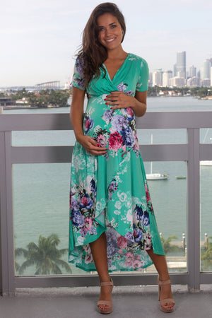 Mint and Pink Floral High Low Dress