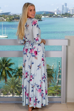 Mint Floral Maxi Dress with Tie Back New Arrivals, Dresses, Maxi Dresses, Formal Dresses Hello Miz/ CMD1309AT - Mint $19.75