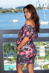 Gray Floral Off Shoulder Short Dress New Arrivals, Dresses, Short Dresses Hello Miz/ CMD1590AN - Grey $12.25