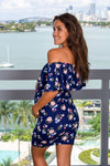 Navy Floral Printed Off Shoulder Short Dress New Arrivals, Dresses, Short Dresses, On Sale Ellie Flora/ MDS002 - Navy Floral $8.95