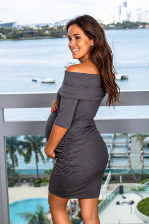 Charcoal Short Dress with Ruched Sides New Arrivals, Dresses, Short Dresses Hello Miz/ CMD1609 - Charcoal $13.25