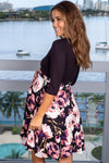Black Rose Printed Short Dress New Arrivals, Dresses, Short Dresses Hello Miz/ CMD1419C - Black $16.25