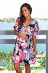 Neon Floral Short Dress with Belt New Arrivals, Dresses, Short Dresses Vanilla Bay/ VD41016- Navy $18