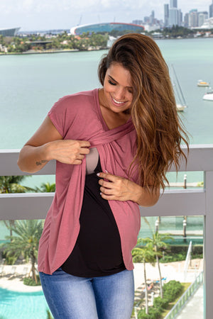 Mauve and Black Short Sleeve Top New Arrivals, Tops Hello Miz/ CNT1054 - Mauve/Black $9.25