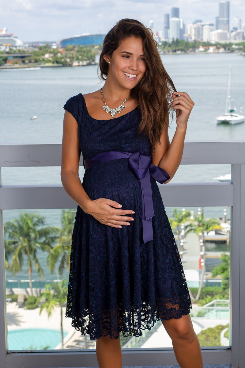 Navy Lace Short Dress
