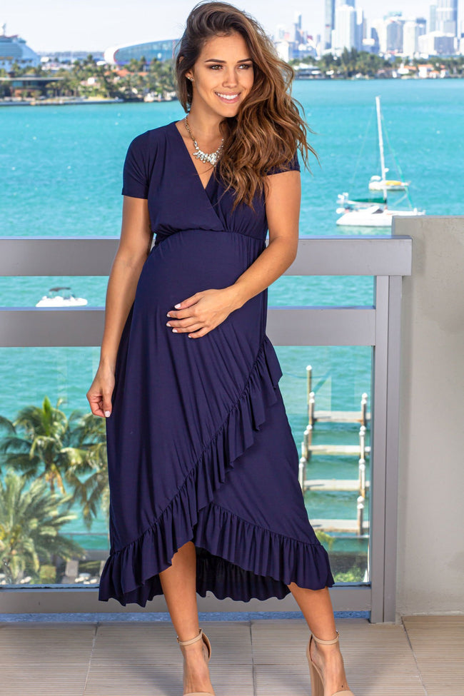 Navy Midi Dress with Ruffle Details New Arrivals, Dresses, Short Dresses Hello Miz/ CMD2003S - Navy $13.75