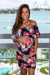 Navy Off Shoulder Floral Short Dress New Arrivals, Dresses, Short Dresses Hello Miz/ CMD1590X - Navy $12.25