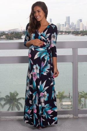 Navy and Aqua Floral Wrap Maxi Dress with 3/4 Sleeves New Arrivals, Dresses, Maxi Dresses, On Sale Hershe/ D2611SKCU - Navy