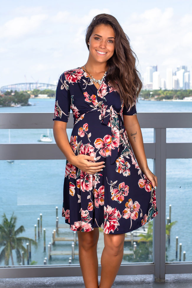Navy and Fuchsia Floral Short Dress with Tied Waist New Arrivals, Dresses, Short Dresses, On Sale My Bump/ MD0010SKAO - Navy $18.75