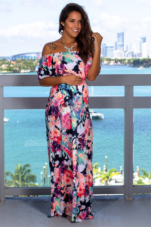 Neon Floral Maxi Dress New Arrivals, Dresses, Maxi Dresses, On Sale Beeson River/ D3500-24 - As shown $19.50
