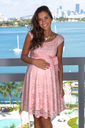 Pink Lace Short Dress with Tied Waist