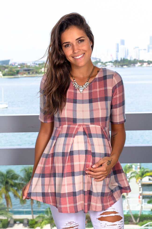 Pink Plaid Top New Arrivals, Tops Hello Miz/ CMT1746Z - Pink $ 10.25