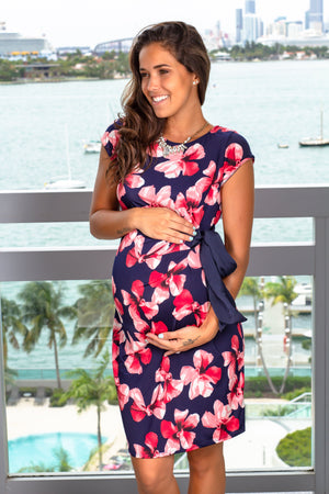 Navy Floral Midi Dress New Arrivals, Dresses, Short Dresses Hello Miz/ CMD14433 - Navy $14.75