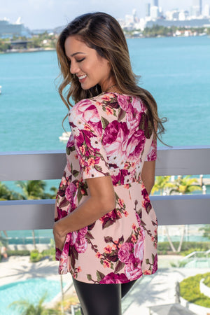 Peach Floral Peplum Top New Arrivals, Tops, On Sale Hello Miz/ CMT1447Z - Peach $10.25