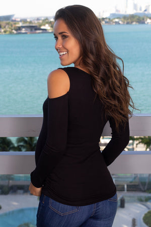 Black Top with Open Shoulder New Arrivals, Tops Hello Miz/ CMT1632 - Black $9.75
