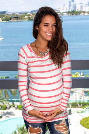 Coral Striped Top with Sleeves New Arrivals, Tops, On Sale Vanilla Bay/ VT20589 - Coral $11.75
