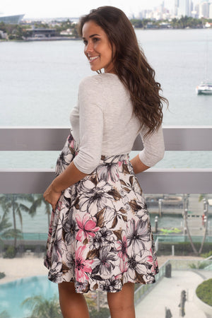 Light Gray Floral Short Dress New Arrivals, Dresses, Short Dresses Hello Miz/ CMD1419 - Light Gray/Pink $14.75