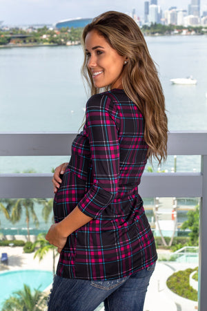 Black Plaid Top with Sleeves New Arrivals, Tops Hello Miz/ CMT1771AU - Black $9.75