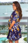 Navy and Yellow Floral Short Dress New Arrivals, Dresses, Short Dresses, On Sale My Bump/ MD0010SKAB-W - Navy/Mustard Yellow $18.75