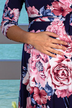 Navy and Pink Floral Short Dress New Arrivals, Dresses, Short Dresses My Bump/ MD0048NPAQ - Navy/Pink $18.75