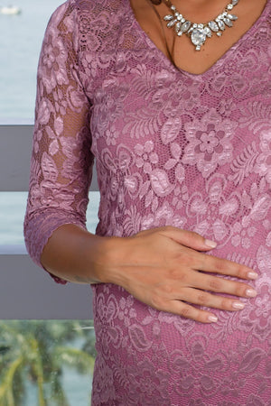 Mauve Lace Midi Dress New Arrivals, Dresses, Short Dresses, On Sale Hello Miz/ CMD1383 - Mauve $14.50