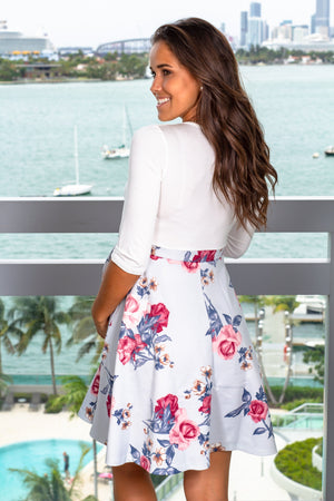 Ivory and Blue Floral Short Dress New Arrivals, Dresses, Short Dresses Hello Miz/ CMD1419o - Ivory/ Blue $15.75