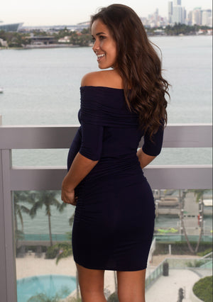 Navy Short Dress with Ruched Sides New Arrivals, Dresses, Short Dresses, On Sale Hello Miz/ CMD1609 - Navy $13.25