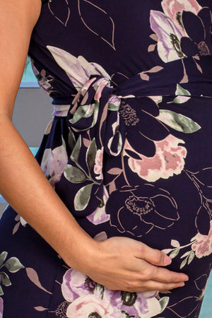 Navy Floral Short Dress with Tie Waist New Arrivals, Dresses, Short Dresses My Bump/ MD0005LBAE - Navy/Purple $17.75
