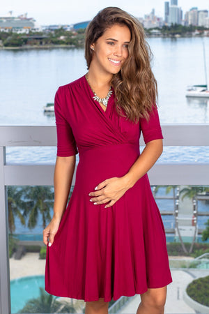 Wine Short Dress with Tie Back New Arrivals, Dresses, Short Dresses Hello Miz/ CMD1036 - Wine $13.75