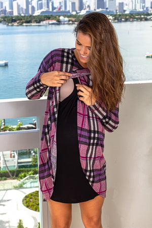 Purple and Black Tunic New Arrivals, Tops, Short Dresses Hello Miz/ CMT1847F - Purple/Black $16.25