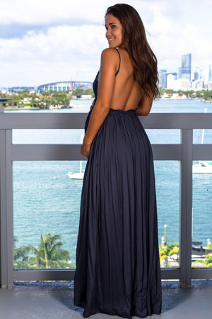 Midnight Navy Crochet Top Maxi Dress with Frayed Hem New Arrivals, Dresses, Maxi Dresses Wishlist/ DC7122E - Midnight Navy $21.95