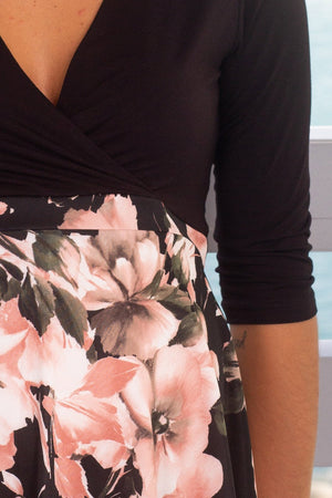 Black Floral Short Dress New Arrivals, Dresses, Short Dresses Hello Miz/ CMD1419i - Black/Pink $16.75