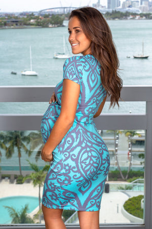 Mint and Gray Printed Short Dress New Arrivals, Dresses, Short Dresses My Bump/ MD0008DM - Mint/Grey $11.75