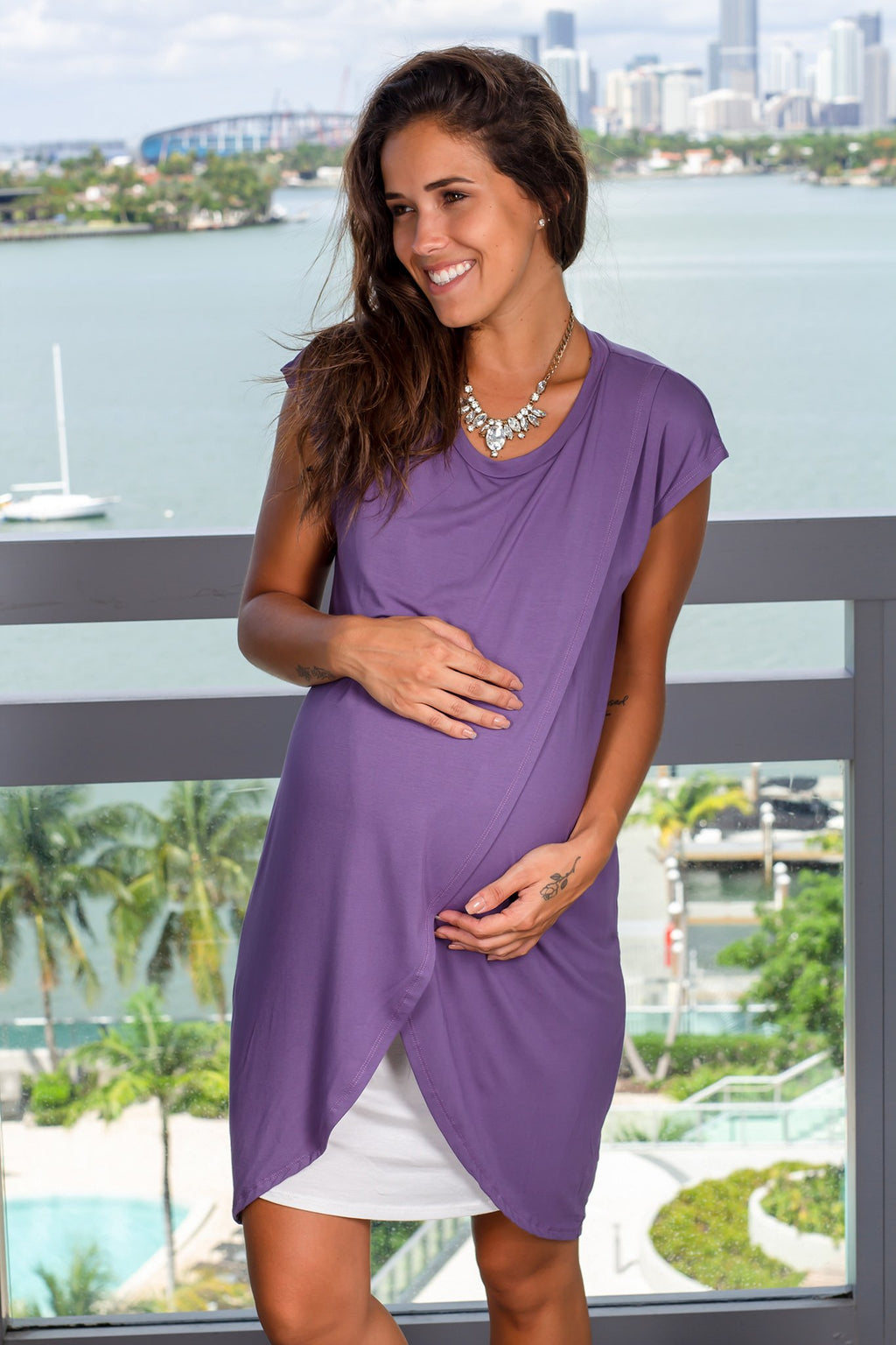 Purple and Ivory Short Dress