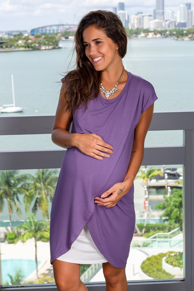 Purple and Ivory Short Dress New Arrivals, Dresses, Short Dresses, On Sale Hello Miz/ CND1059 - Purple/Ivory $13.25