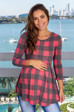 Red Plaid Peplum Top New Arrivals, Tops Hello Miz/ CMT1816J - Red $10.25