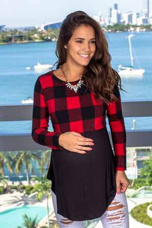 Red Plaid Top New Arrivals, Tops Hello Miz/ CMT1845H - Red/Black $11.75