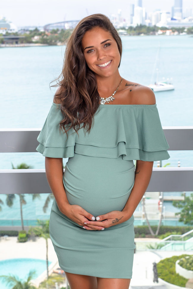 Sage Off Shoulder Short Dress New Arrivals, Dresses, Short Dresses Hello Miz/ CMD1728S - Sage $12.75