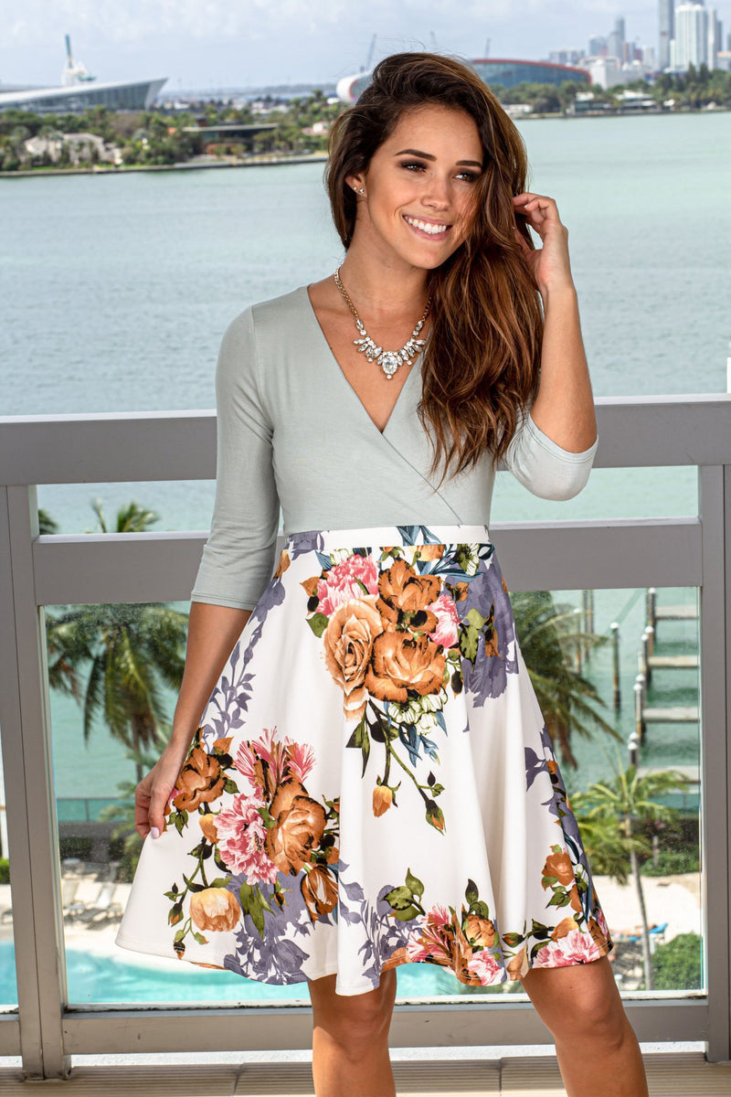 Sage and Ivory Floral Short Dress New Arrivals, Dresses, Short Dresses, Casual Dresses Hello Miz/ CMD1419Z - Sage/Ivory $13.75