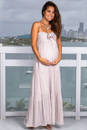 Shell Maxi Dress with Tie Front