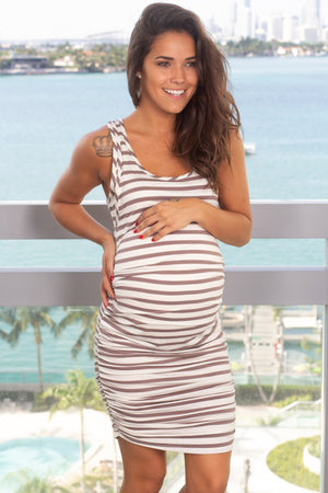 Mocha Striped Short Dress New Arrivals, Dresses, Short Dresses, On Sale Hello Miz/ CMD1678B - Ivory/Mocha $12.25