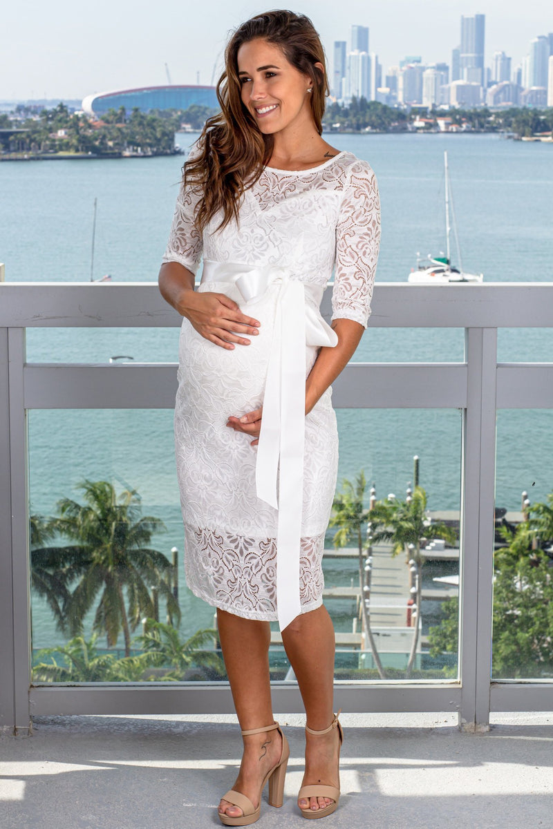White Lace Short Dress with Tie Waist New Arrivals, Dresses, Short Dresses My Bump/ MD0035LACE - White $21.75