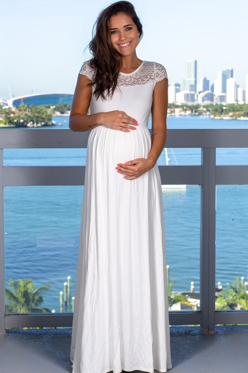 White Lace Top Maxi Dress New Arrivals, Dresses, Maxi Dresses Hello Miz/ CMD1928 - White $16.75
