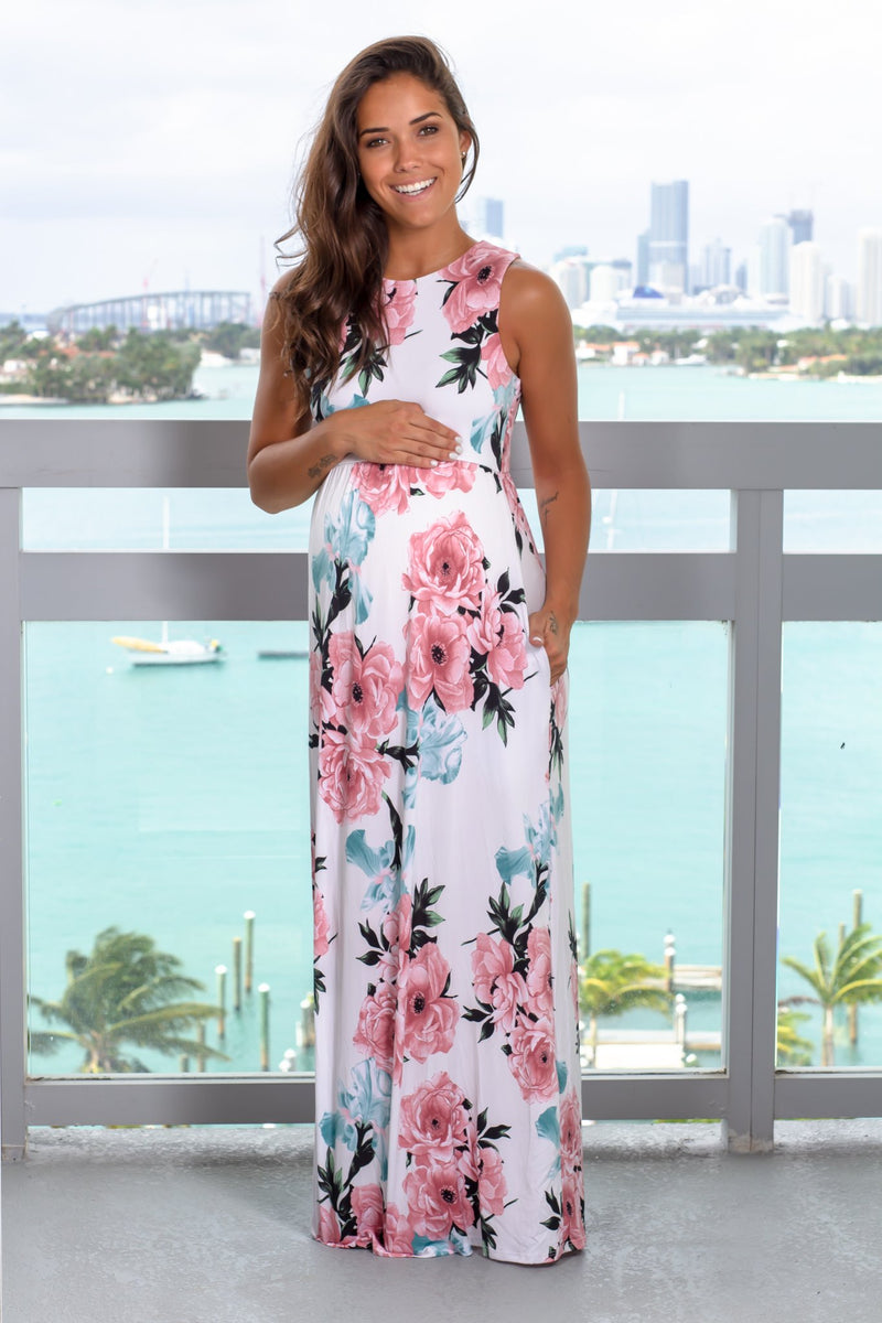 White and Pink Floral Maxi Dress