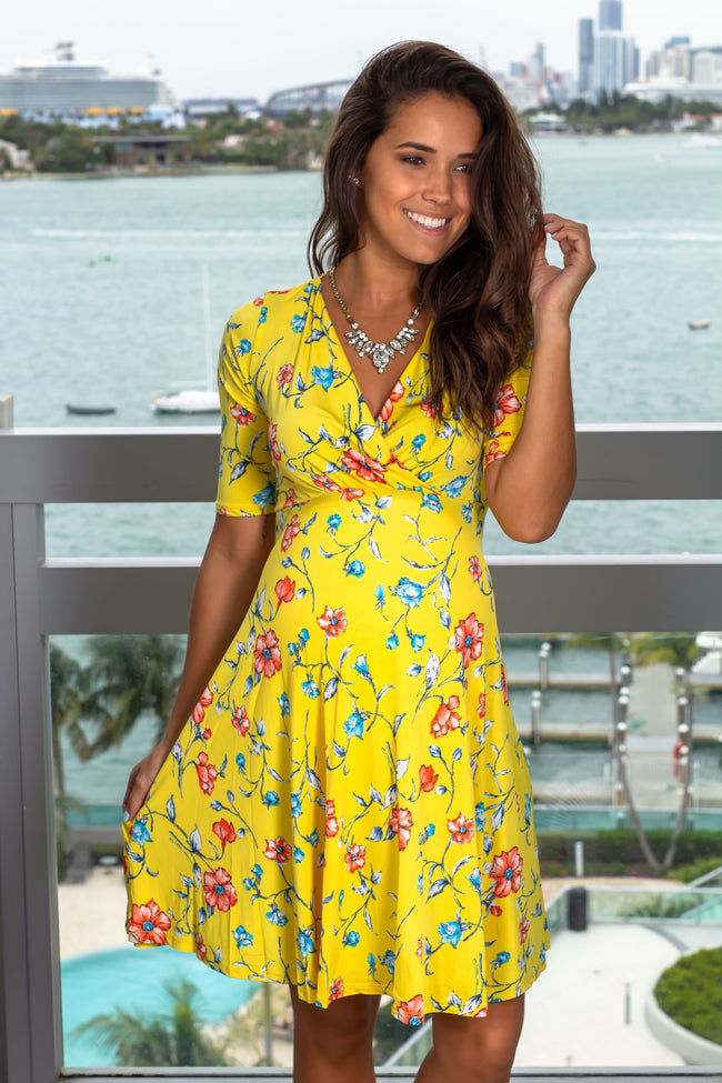 Yellow Floral Short Dress with 3/4 Sleeves New Arrivals, Dresses, Short Dresses, On Sale Hello Miz/ CMD1248A - Yellow $16.75